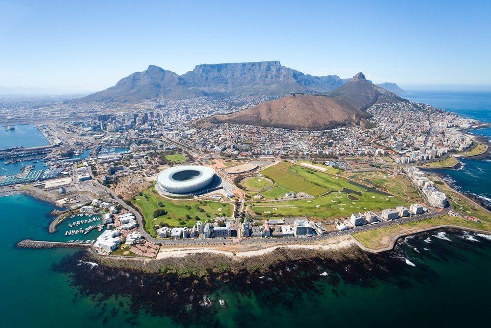 Kapské město panorama z ptačí perspektivy