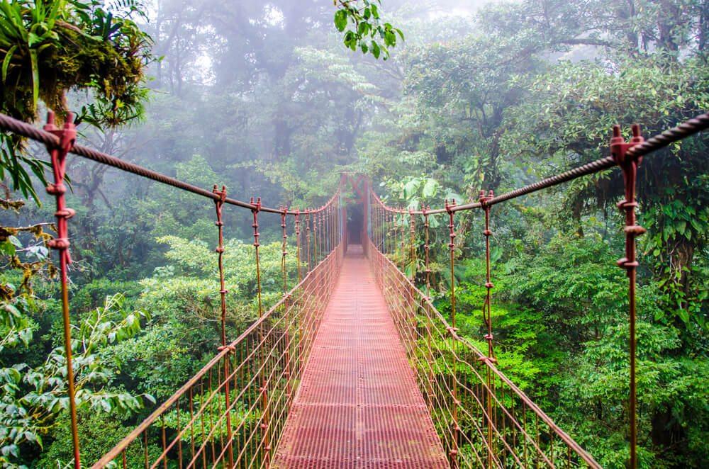 Most nad džunglí Monteverde.
