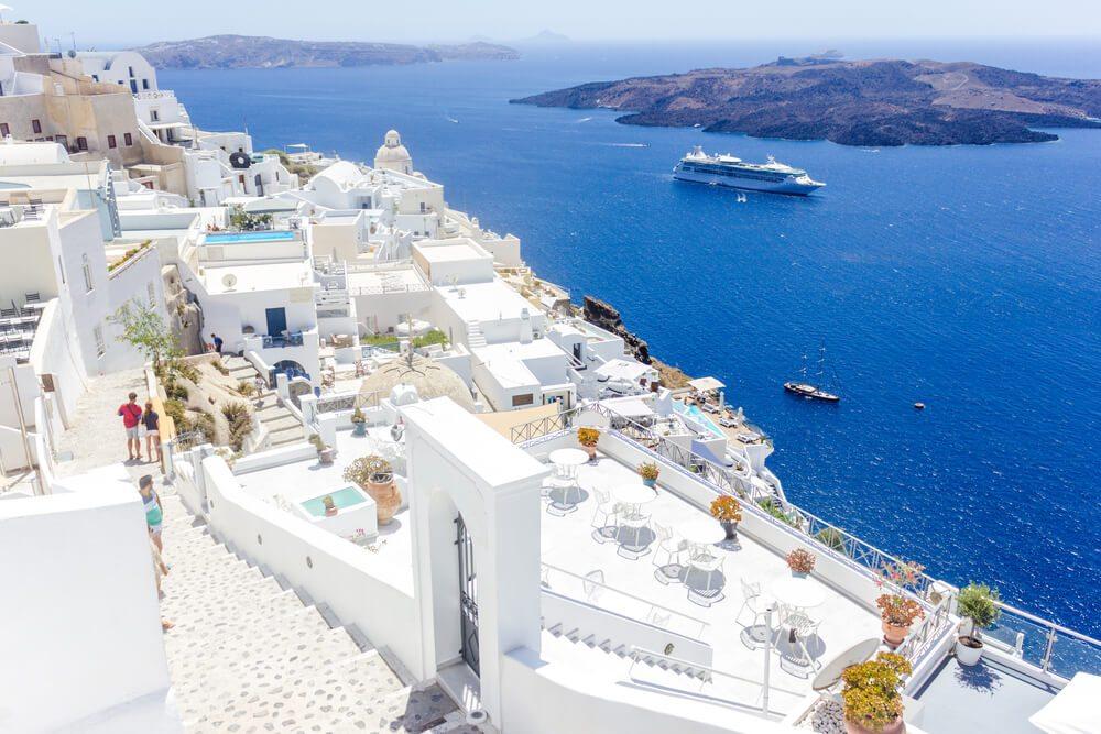 Bílé domy na Santorini.