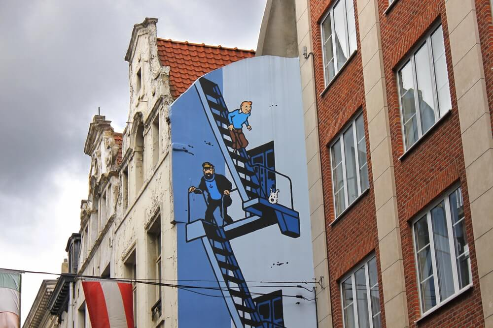 Zeď ilustrovaná Tin Tinem