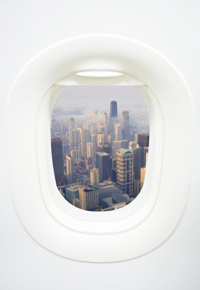 Výhled na město z letadla