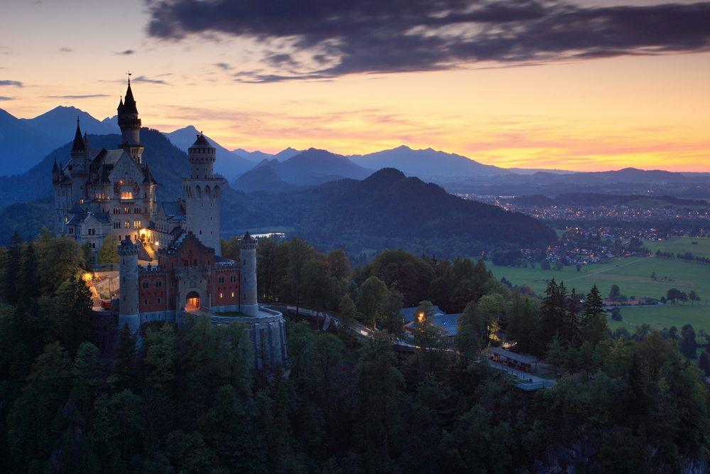 Bavorský hrad v Německu.