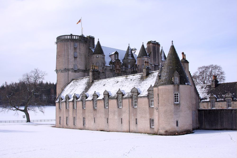 Pohled na hrad Fraser v zimě.