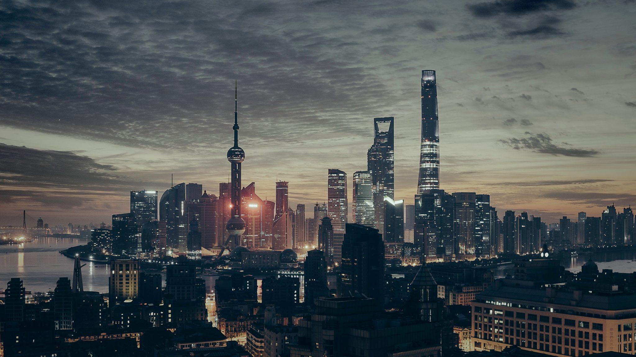 Noční panorama Šanghaje
