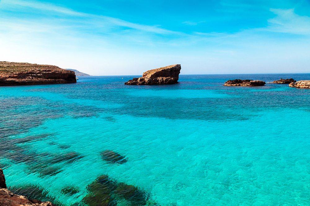 Blue Lagoon na ostrově Comino.
