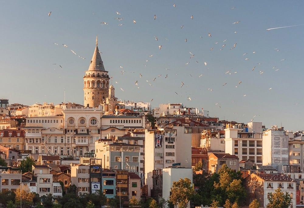 Panoramatický výhled na Istanbul.
