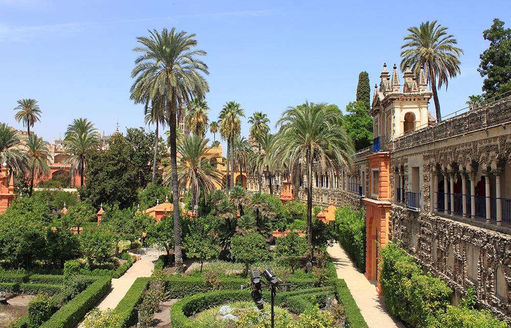 Zahrady královského paláce Alcazar.