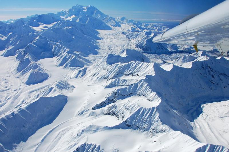Aljašské pohoří z letadla