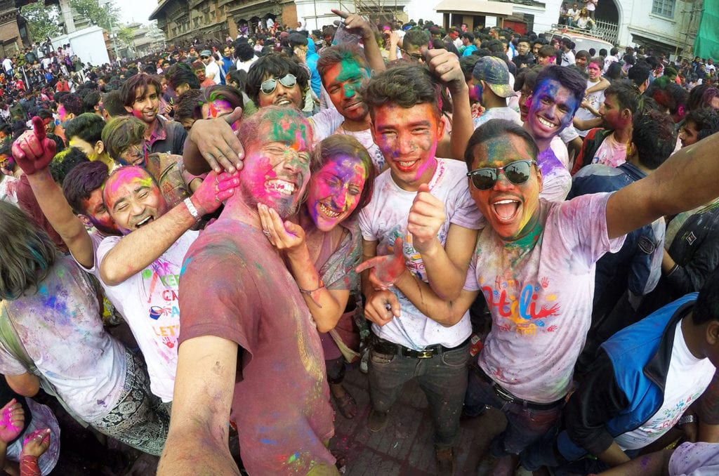 Holi festival v Káthmándú