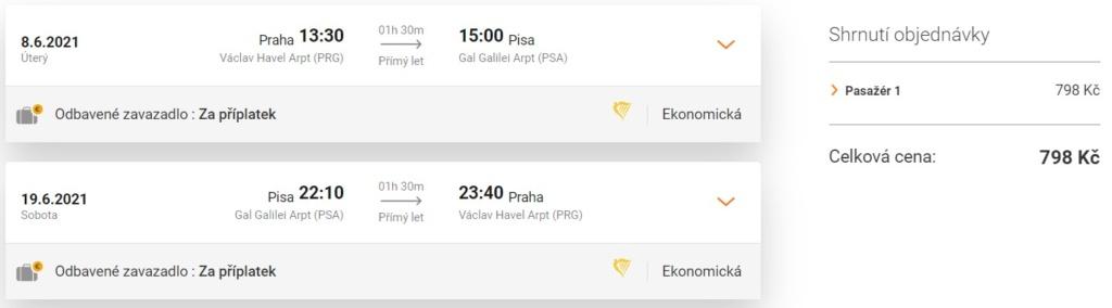 Akční termín letenky do Pisy, Itálie, léto, levné letenky