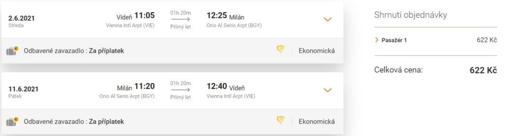 Akční termín, Milán, levné letenky z Vídně