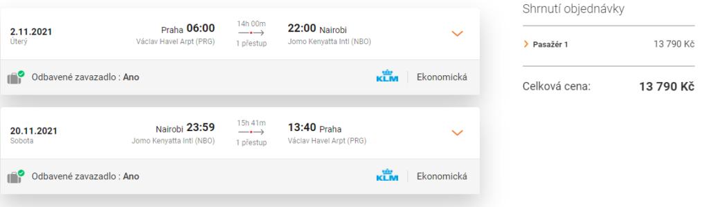 Letenka KLM Keňa