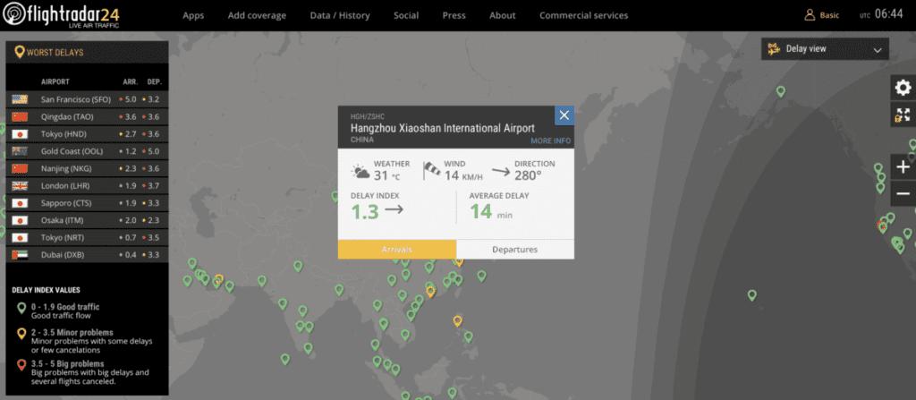 Flightradar, snímek obrazovky online mapy