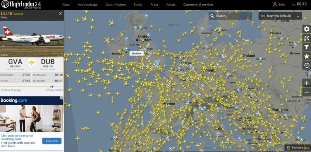Sledování letů online na mapě Flightradar24