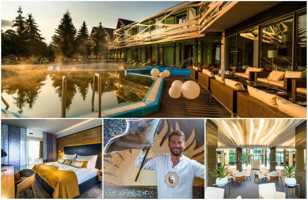 Koláž fotek hotelu Galeria Thermal Bešeňová - budova s venkovním bazénem, pokoj, saunamistr, jídelna