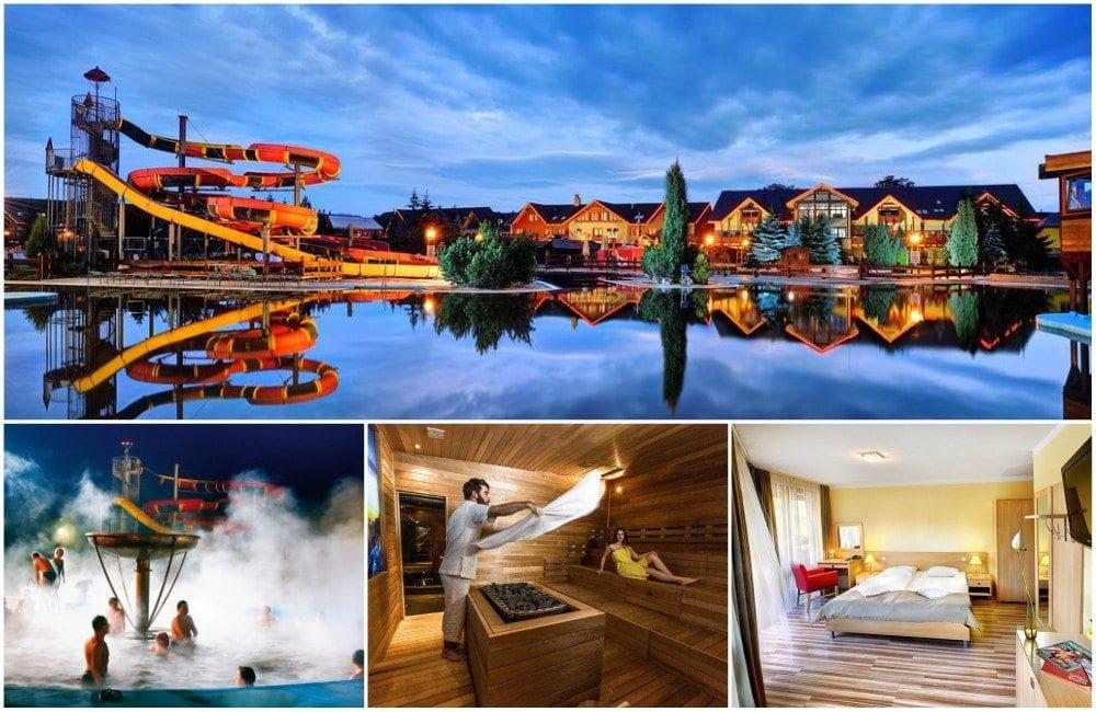 Koláž fotek hotelu Bešeňová - bazén s tobogány, vyhřívaný bazén, saunový rituál, pokoj