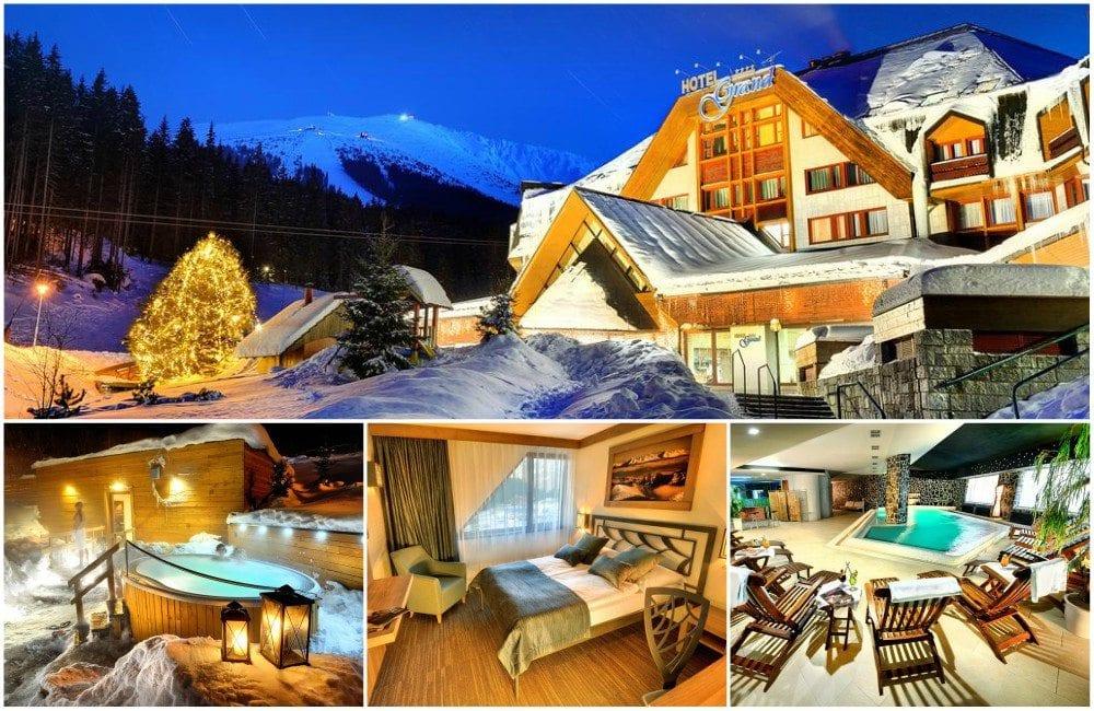 Koláž fotek hotelu Grand Jasná - budova v zimě, venkovní wellness, pokoj, bazén