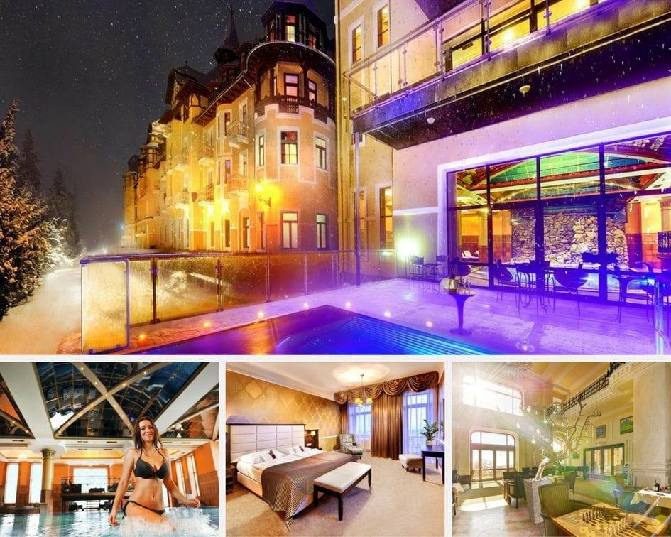 Koláž fotek Grandhotelu Praha - budova s venkovním bazénem, vnitřní bazén, pokoj, jídelna