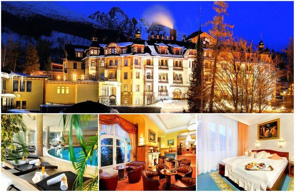 Koláž fotek Grandhotelu Starý Smokovec - budova, bazén, luxusní jídelna, pokoj