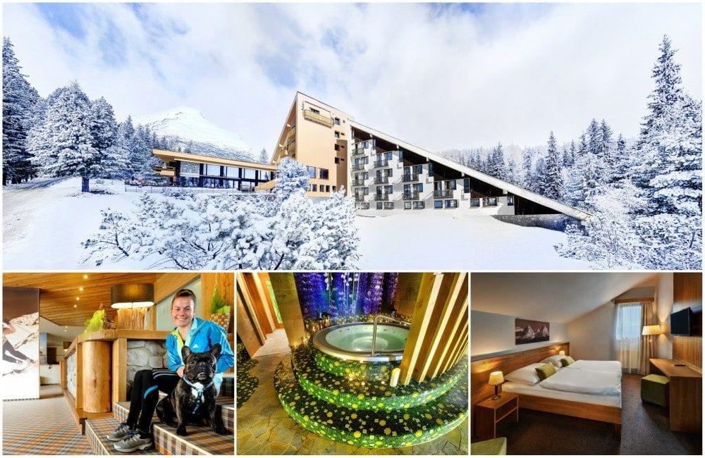 Koláž fotek hotelu FIS - budova v zimě, chlapec se psem v hotelu, wellness, pokoj