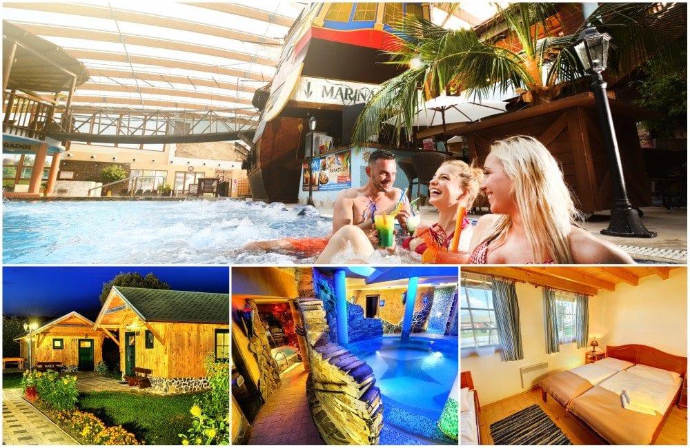Koláž fotek Holiday Village Tatralandia - rodina v bazénu, chatky, wellness, pokoj