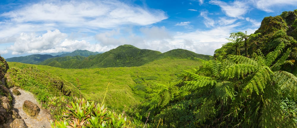 sopka Soufriere na Guadeloupe v Karibiku