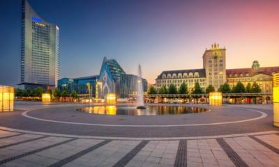Náměstí v Lipsku v Německu