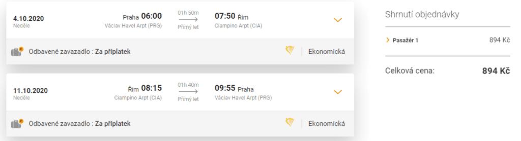 Screenshot letenky do Říma z Prahy