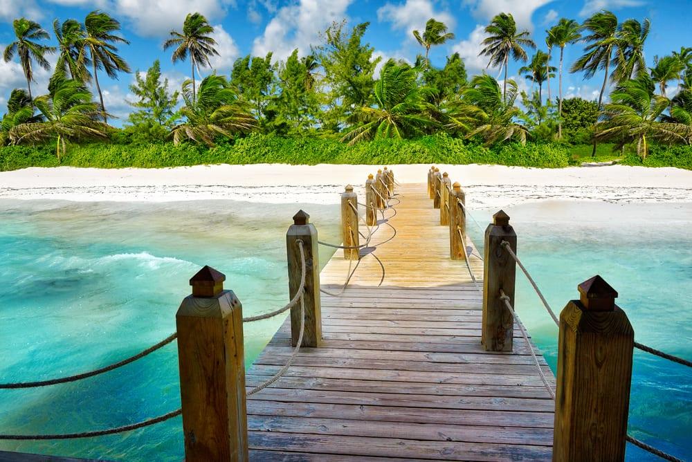 Dominikánská republika, moře a pláž s palmami