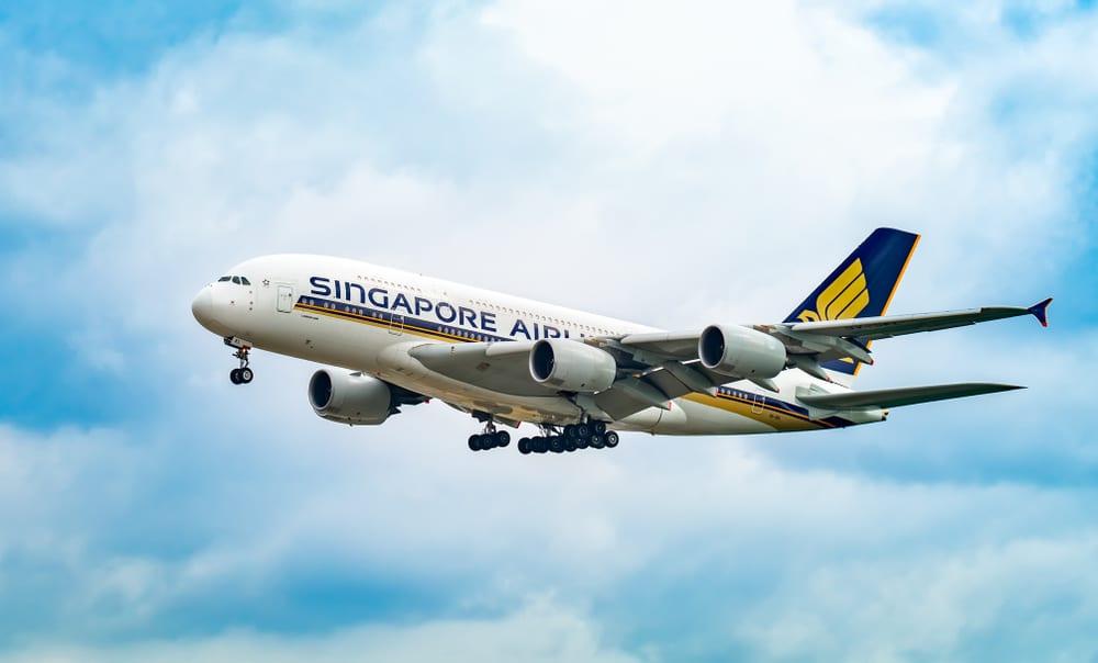 Letadlo Singapore Airlines v nebesích
