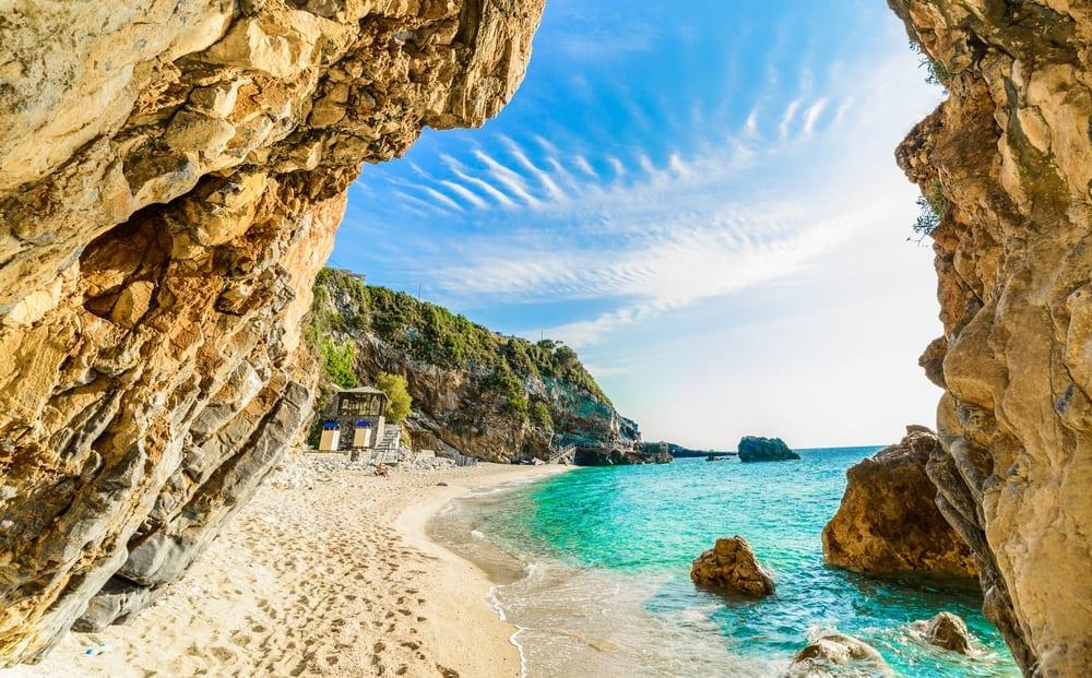 Korfu, pláž, dovolená