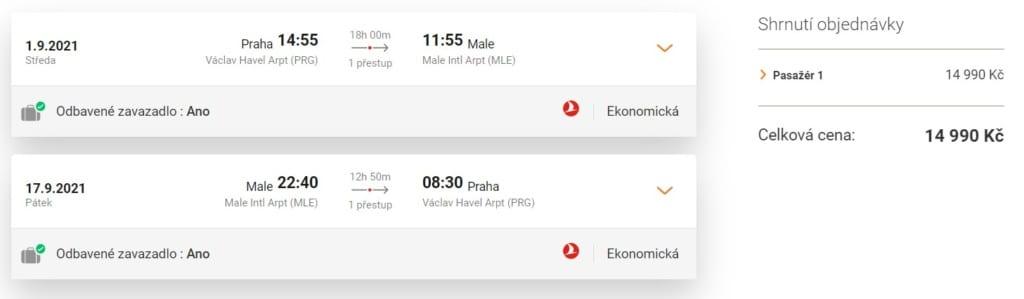 Akční termín letenky na Maledivy, Turkish
