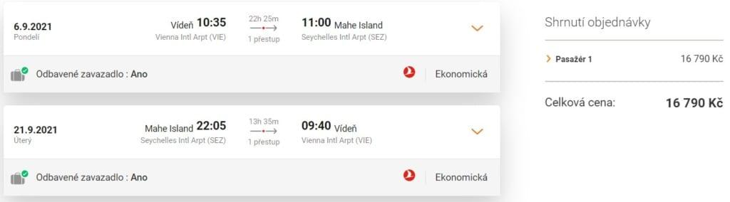 Letenka na Seychely, Turkish Airlines