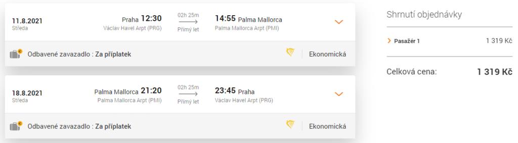 Letenka z Prahy na Mallorcu v létě