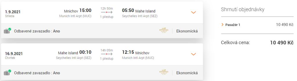 Akční termíny Seychely - Etihad Airways
