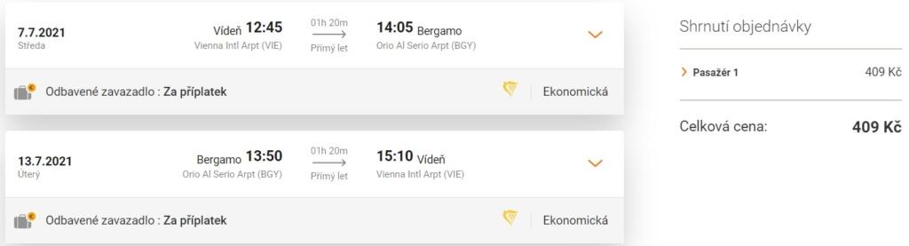 Levné letenky Bergamo z Vídně, léto
