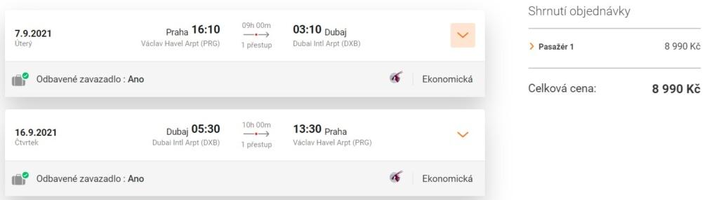 Letenka Dubaj z Prahy, Qatar Airways
