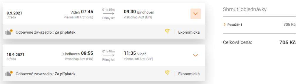 Ryanair letenka Eindhoven, odlet z Vídně, podzim