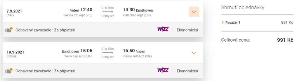 Letenka Wizz Air léto 2021, Nizozemsko, Eindhoven
