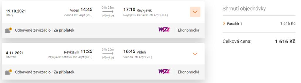 Wizz Air letenka, Island, podzim 2021