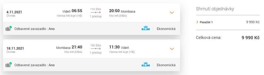 Letenka KLM Mombasa