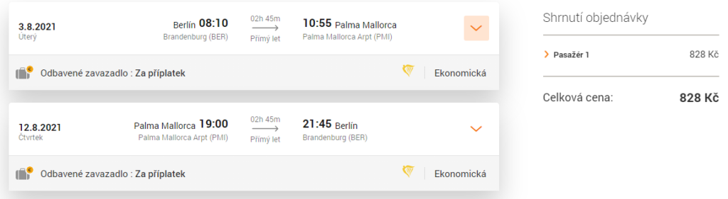 Akčí termín letenky na Mallorcu, z Berlína, léto 2021
